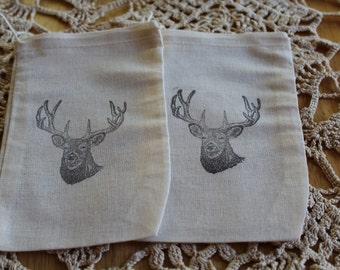 Set of 10 Hand stamped Deer Head Muslin Party Favor Bags 100% organic made in america