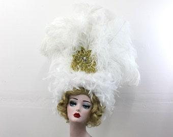 White Showgirl Feather Headdress, Burlesque Costume Headpiece, Ostrich Feathers, Viva Las Vegas, Belly Dance, Carnivale, Mardi Gras