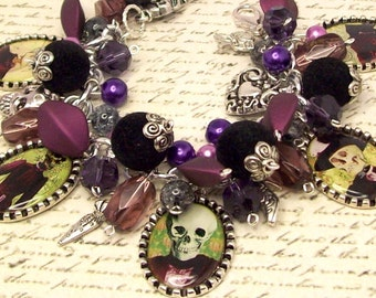 Skull Charm Bracelet Jewelry, Day of the Dead Charm Bracelet Jewelry,  Altered Art Bracelet,