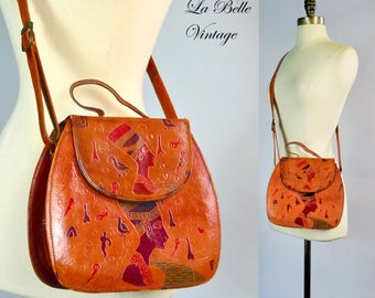 Egyptian Tooled Leather Bag Vintage Hieroglyphic Detail ~ Shoulder Crossbody Handbag