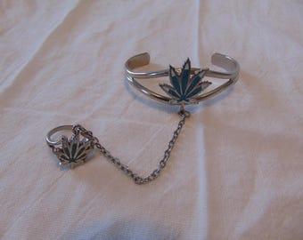 vintage silver blue white mosaic marijuana leaf slave bracetet ring sz.8 signed G&S RP 88
