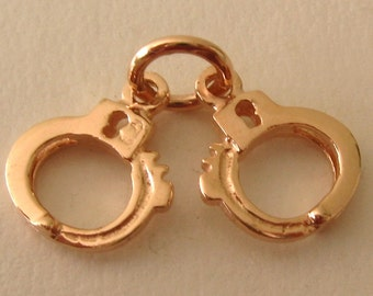 Genuine SOLID 9K 9ct ROSE GOLD 3D Handcuffs Police charm/pendant