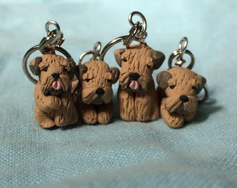 Wheaten Terrier Stitch Markers, Miniature Polymer Clay Dog, Knitting Notions, Knitting Accessories, Gift for Dog Lover (set of 4)