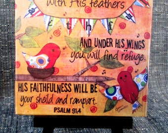 Faithful, Two Colorful Birds, Scripture Art Print on Easel, Wood Mounted Print, Print of Mixed Media Painting, Christian Art, 4x4