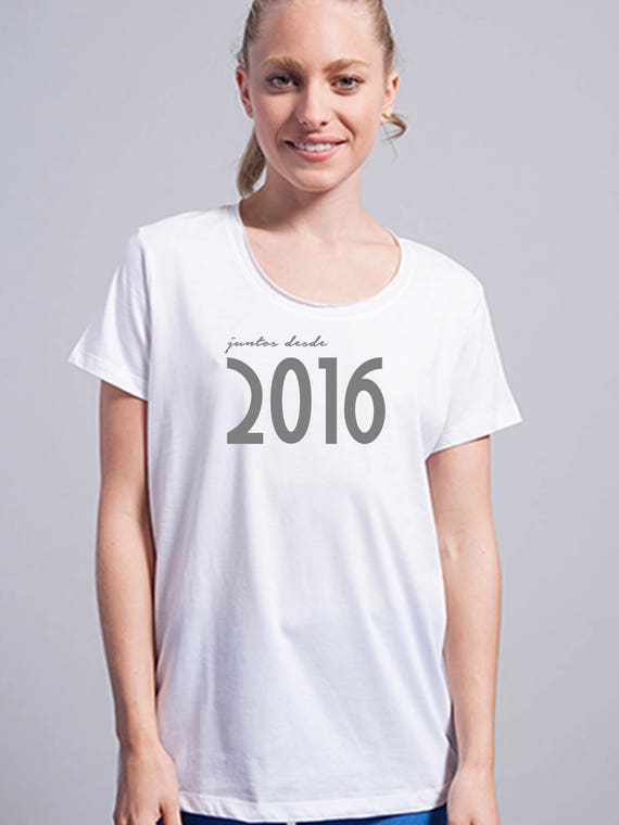 Round neck women t-shirt JUNTOS DESDE (birth year)