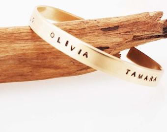 Name Bracelet, Mother's Bracelet, Bronze Name Bracelet, Bronze Cuff, Mother's Jewelry, 8 Year Anniversary