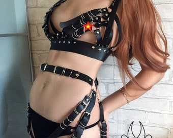 set Leather body, harness Leather, harness belt,Leather garter,  Fetish harness, Harnessing three belts  top harness, women harness,  Mature