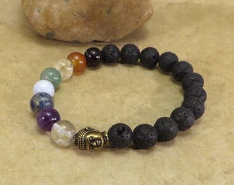 Chakra Balancing Stretch Bracelet w/ Lava  Reiki Energy Jewelry Root Sacral Solar Plexus Heart Throat Third Eye Crown Soul Star Aromatherapy