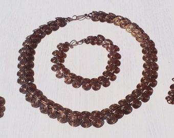 Solid Copper Egyptian Coil Jewellery Set: Choker/Collar, Bracelet, Earrings