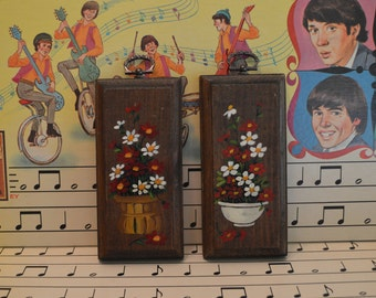 Set of Two Small Wooden Flower Pictures