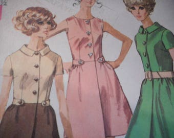 Vintage 1960's Simplicity 7982 Dress Sewing Pattern Size 14 Bust 36