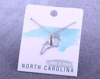 Customizable! State of Mine: North Carolina Football Silver Necklace - Great Football Gift!