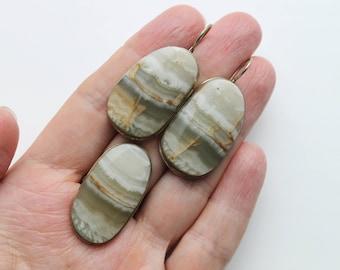 Nepheline stone set, Nepheline ring, Nepheline stone earrings, boho style set #406 Free shipping