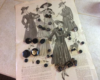 Antique Victorian Glass Button Lot, 33 Buttons, Many Matching
