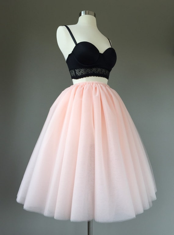Tulle Skirt Adult Tutu Two Toned 8 Layer Blush Peach Bachelorette