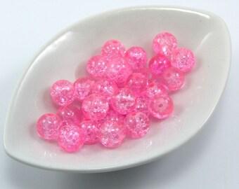 Set of 10 8 mm crackled glass beads pink color