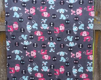 Flannel Dog Bed Cover, Dog Print, Envelope Style, 24 x 35