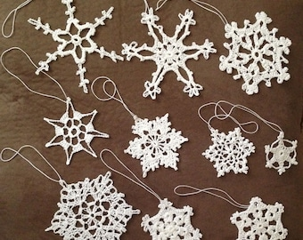 Christmas crochet Snowflake Ornaments. Set of 10 in 10 different designs.