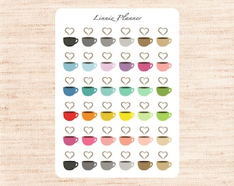 Coffee Cup Regular size (matte planner stickers, perfect for planners)
