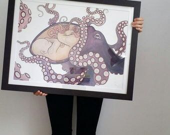 A2 archival Mother octopus baby limited edition print