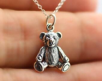 TEDDY BEAR NECKLACE - 925 Sterling Silver - Toys Children Kids Teddy Bear Charm