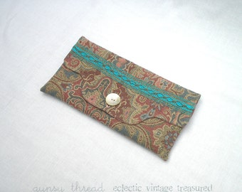 Fabric Clutch, Pastel Paisley Tapestry, Vintage Materials, Shell Button