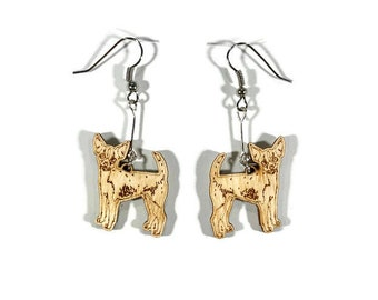 Chihuahua Dog Earrings Wooden, gift for her, animal earrings, pet jewelry, dog jewelry, wood, birthday gift, kids jewelry, mother's day