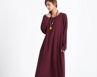 Women's linen maxi dress oversize bridesmaid dress long linen caftan large size dress plus size clothing Custom_made dress A68