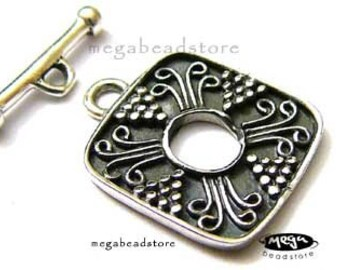Square Bali Sterling Silver Handmade Toggle Clasp Marked 925 T67-S -1 set