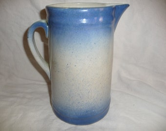 Blue and White Stoneware Pitcher