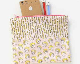 Blond Boys Love French Fries Pink Zipper Pouch   Original Fabric Design