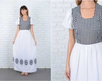 Vintage 70s Black + White Maxi Dress Boho Hippie Floral Gingham Plaid XS 8873