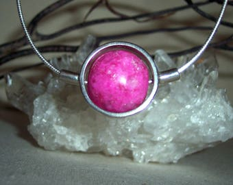 CALCITE (PINK)) -hand-cut -Stone Sphere Necklace