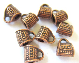 24 Copper Charm hangers  jewelry making supplies pendant hangers bead hangers copper tone bail beads 436-R(L3)