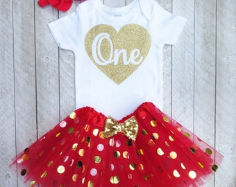 Heart one outfit - Baby girls red 1st birthday outfit - Heart one birthday outfit - Glitter gold one Gold heart 1st birthday Heart 1 outfit