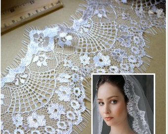 3metres * 9cm lace off white chantilly - lace mud - Ref. 1017