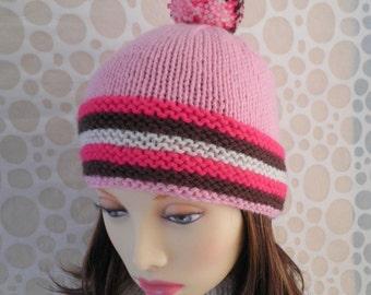 KNITTING PATTERNS NOUGAT/Ski Hat Pattern Pompom Beanie/ Knit Straight/ Easy Hat Pattern Womans Winter Beanie Girls Pompom Ski Hat Pattern