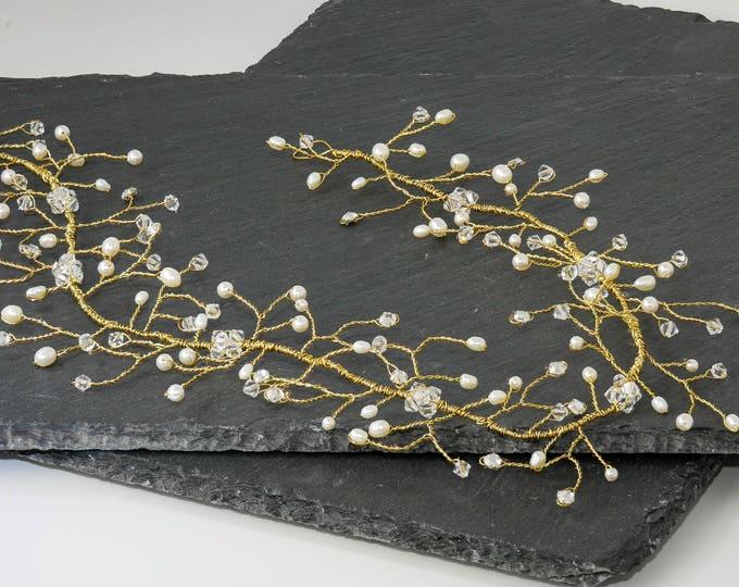 Gold hair vine, silver hair vine, crystal crown, Swarovski pearl, flower head chain, Garland crown,  wedding accessories, bride hair