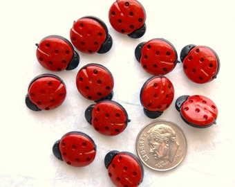 12 Red LADY BUGS Buttons ,Whimsical Bugs, Shank back  (AH 9)