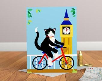 Cycling Cat Card - Cat Greeting Card - Childrens Card - Cat Card - Kitty Card - London Card