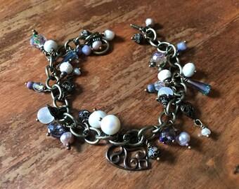Iridescent Heart Charm Bracelet