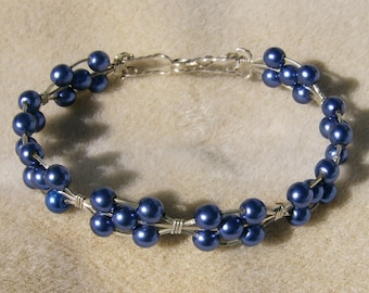 Wire Wrapped Bracelet - Exquisite Dark Blue Glass Pearls in .925 Sterling Silver by JewelryArtistry - BR606