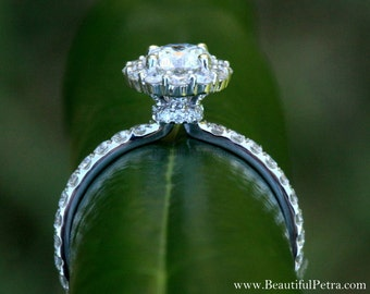 Diamond Engagement Ring  -14K white gold - 1.90 carat - Round - Flower Halo - Pave - Antique Style - Bph033