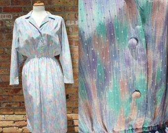 Vintage Pastel Long Sleeve Dress / Pellini Petites Von Bramlett