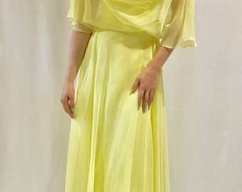 Lovely Lemon-Yellow Chiffon Gown