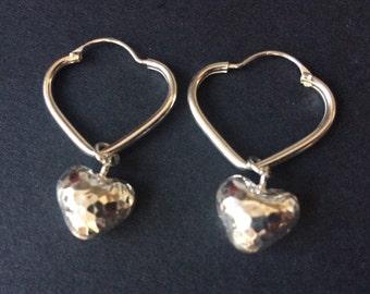 Silver Heart Hoop Earrings, Sterling Silver Heart Earrings, Interchangeable Charm Hoop Dangle Earrings, Jewellery Gift, 925 Silver Jewelry