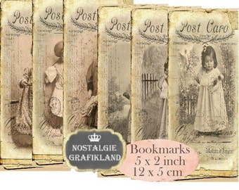 French Girls Bookmarks Instant Download digital collage sheet E127 Vintage Paper Old Photos