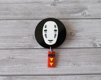 Spirited Away No Face brooch - Studio Ghibli - Hayao Miyazaki - Laser cut acrylic - Handpainted - Kawaii - Japan