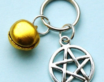 Pet Collar Charms with Pentagram & Gold Bell for Cat or Dog Witches Pentacle New LB20