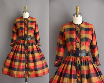 1950s Fall bold plaid full skirt cotton dress by Jacque. 1950s vintage dress